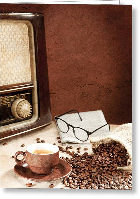 Drink Greeting Cards - A cup of coffee with newspaper and radio Greeting Card by Wolfgang Steiner