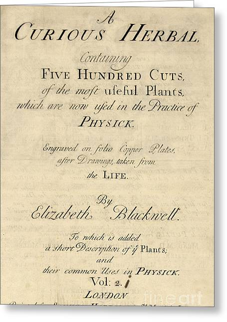A Curious Herbal, Title Page, 1737 Greeting Card by Science Source