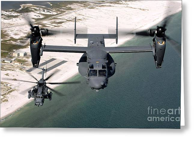 Rotorcraft Photographs Greeting Cards - A Cv-22 Osprey And An Mh-53 Pave Low Greeting Card by Stocktrek Images