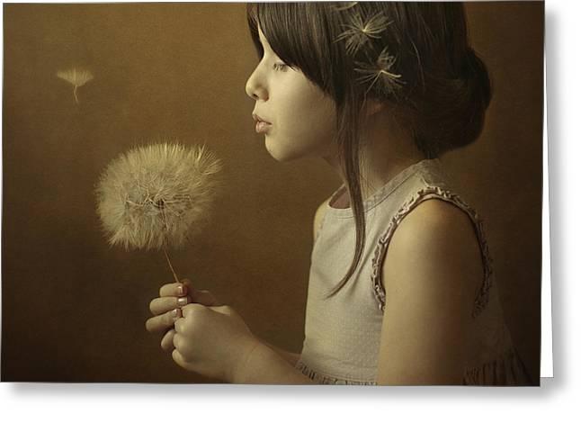 Portrait Photographs Greeting Cards - A Dandelion Poem Greeting Card by Svetlana Bekyarova