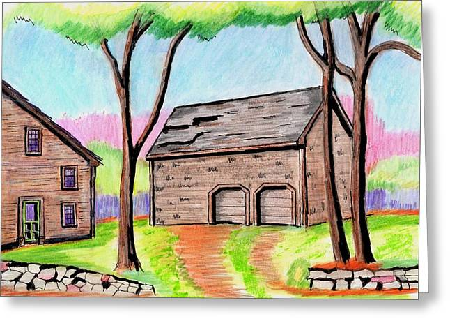Old Barn Drawing Greeting Cards - A Danvers Barn Greeting Card by Paul Meinerth