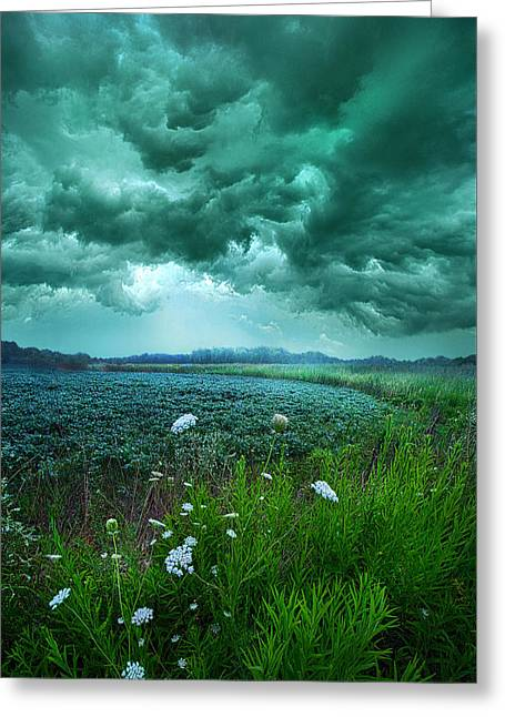 Storm Clouds Greeting Cards - A Dark Day Greeting Card by Phil Koch