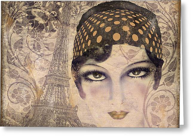 Beautiful Face Greeting Cards - A Date with Paris Greeting Card by Mindy Sommers