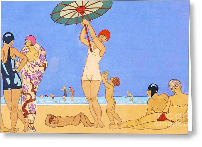 A Day At The Beach, 1923 Greeting Card by Georges Barbier