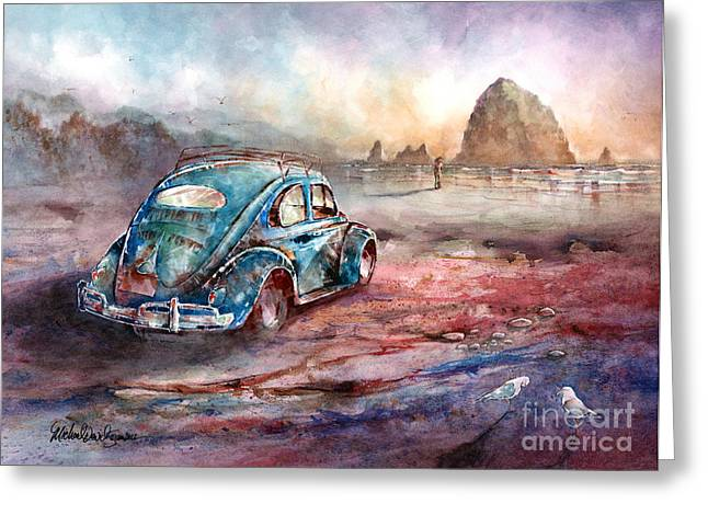 Vw Beetle Paintings Greeting Cards - A Day at the Beach Cannon Beach Oregon Greeting Card by Michael David Sorensen