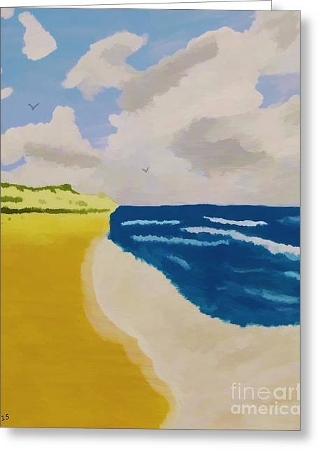 Abstract Beach Landscape Greeting Cards - A Day At The Beach Greeting Card by D Hackett