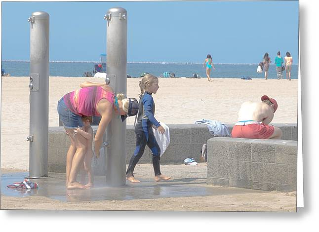 Seacape Greeting Cards - A Day At The Beach Greeting Card by Roland Peachie