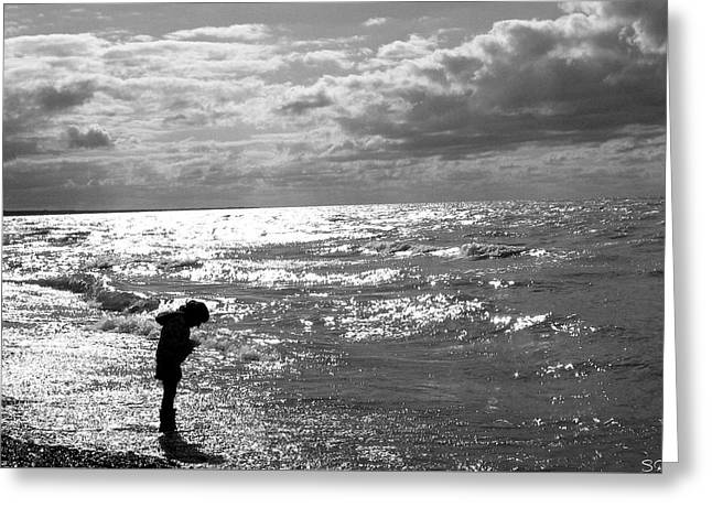 Original Photographs Greeting Cards - A Day at the Beach Silhouette Greeting Card by Stephen  Killeen