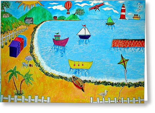Airoplane Greeting Cards - A Day At The Seaside Greeting Card by Sandy Wager