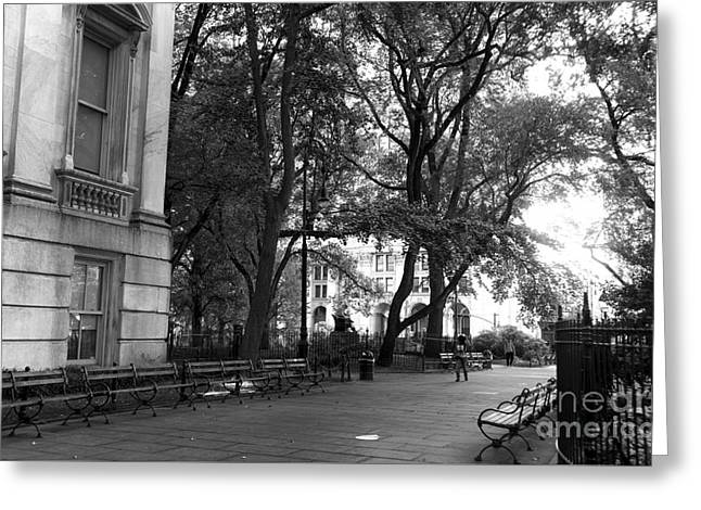 City Hall Greeting Cards - A Day in City Hall Park mono Greeting Card by John Rizzuto