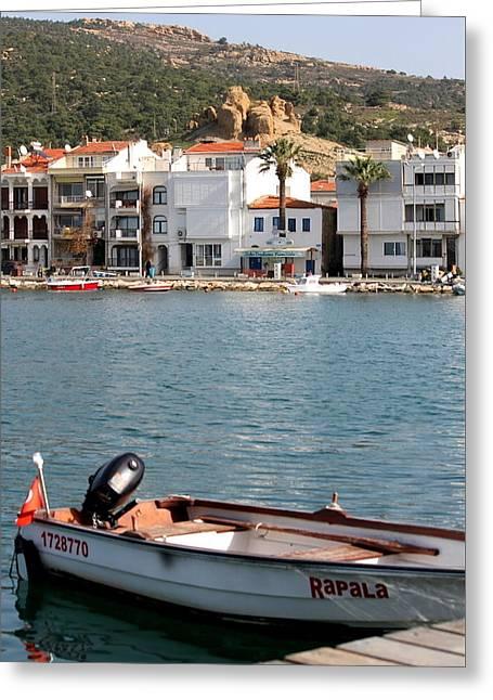 Docked Boat Greeting Cards - A day in Eski Foca Greeting Card by Rebecca Davis