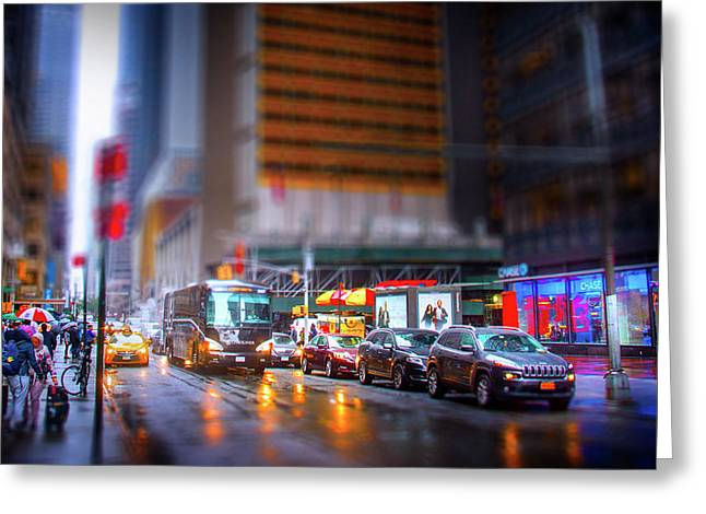 A Day In The Life Of Manhattan Greeting Card by Mark Andrew Thomas