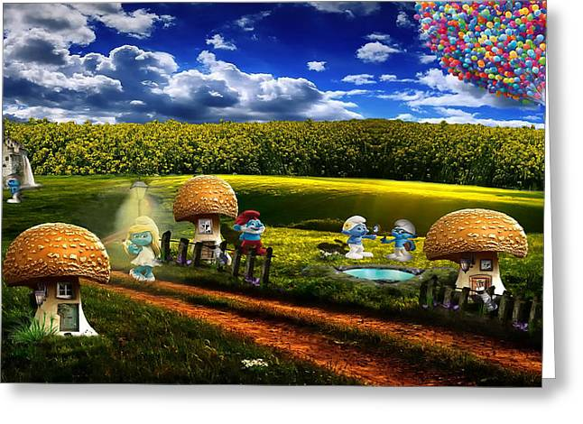 Country Lanes Digital Art Greeting Cards - A Day with the Smurfs Greeting Card by Gokhan Yener