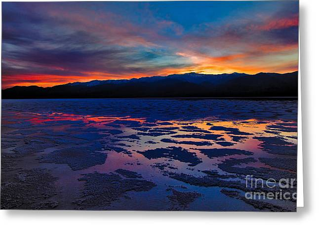 Dry Lake Greeting Cards - A Death Valley Sunset in the Badwater Basin Greeting Card by Kim Michaels