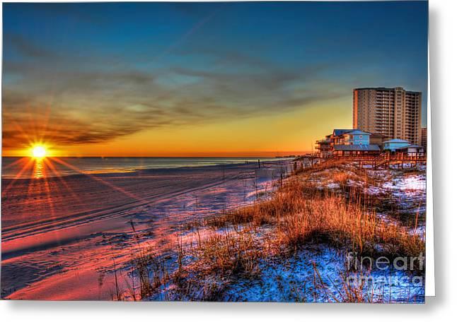 A December Beach Sunset Greeting Card by Ken Johnson