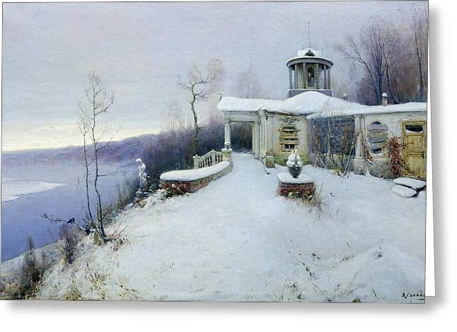 Wintry Greeting Cards - A deserted manor house  Greeting Card by Vladimir Pavlovich Solokov