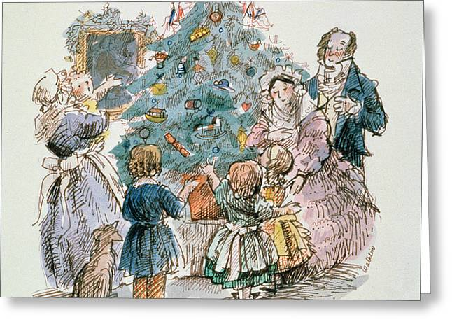 Christmas Card Drawings Greeting Cards - A Dickensian Christmas  The Tree Greeting Card by Carol Walklin