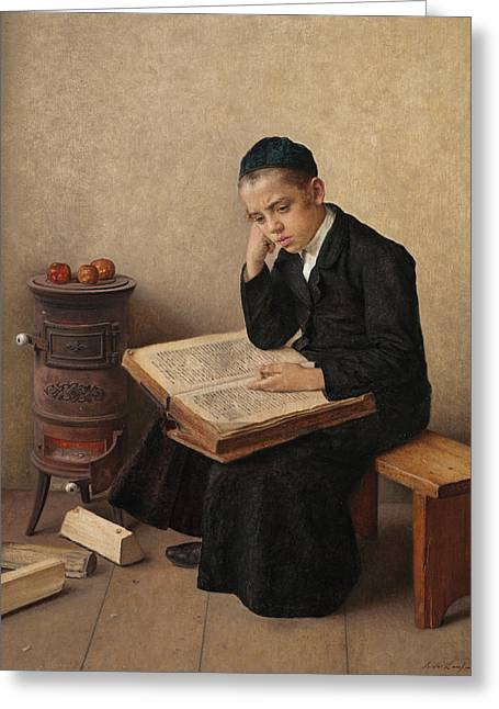 A Difficult Passage In The Talmud Greeting Card by Isidor Kaufmann
