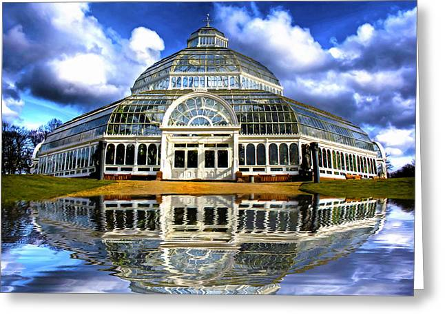 A Digital Painting Of Sefton Park Palm House Liverpool England Greeting Card by Ken Biggs