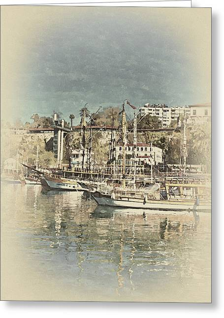 Sailboat Photos Paintings Greeting Cards - A digitally constructed antique style painting of Kaleici harbor Antalya Turkey Greeting Card by Ken Biggs