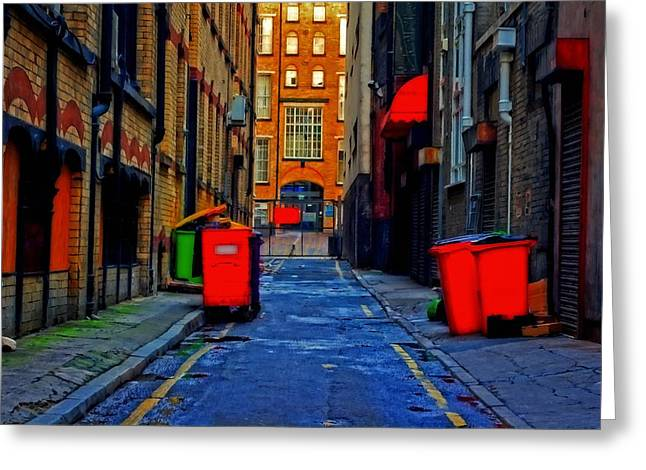 Long Street Greeting Cards - A digitally constructed painting of an inner city back alleyway Greeting Card by Ken Biggs