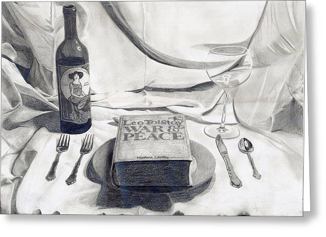 Consume Drawings Greeting Cards - A Dinner Setting Greeting Card by Benjamin Winans