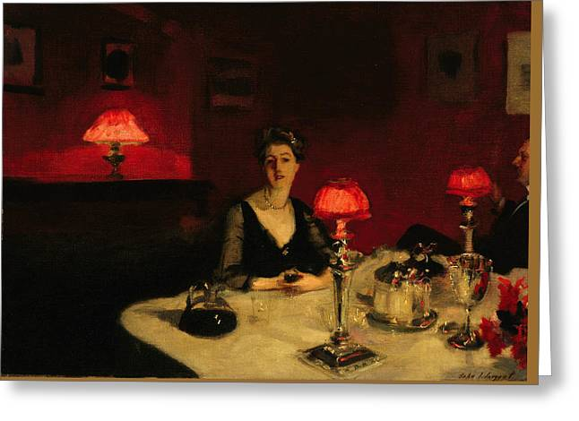 Man And Woman Greeting Cards - A Dinner Table at Night Greeting Card by John Singer Sargent