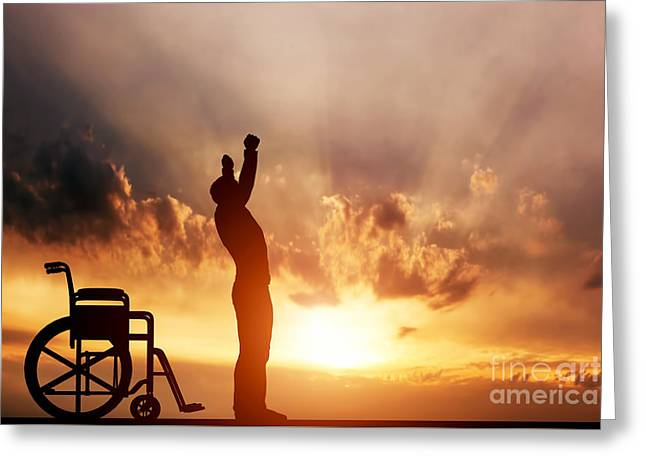 A Disabled Man Standing Up From Wheelchair Greeting Card by Michal Bednarek
