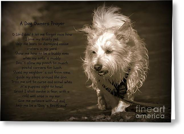 West Highland Terrier Black And White Image Greeting Cards - A Dog Owners Prayer Greeting Card by Clare Bevan