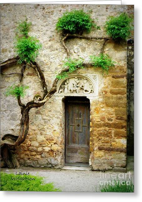 Chateau Greeting Cards - A Door in the Cloister Greeting Card by Lainie Wrightson
