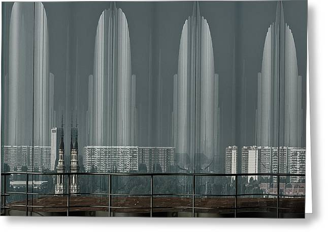 Modern Building Greeting Cards - A Double Look. Greeting Card by Greetje Van Son