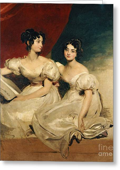 Full-length Portrait Paintings Greeting Cards - A double portrait of the Fullerton sisters Greeting Card by Sir Thomas Lawrence