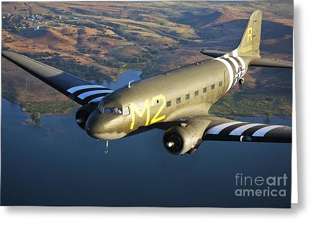 Military Planes Greeting Cards - A Douglas C-53 Skytrooper In Flight Greeting Card by Scott Germain