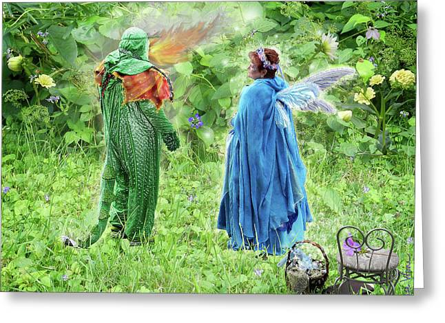 A Dragon Confides In A Fairy Greeting Card by Lise Winne