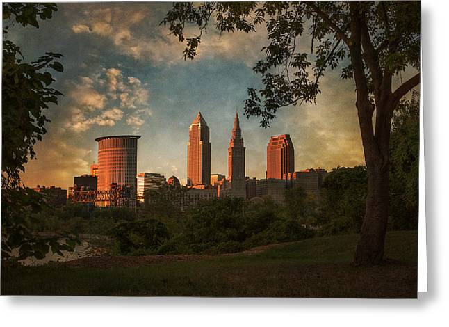 River View Greeting Cards - A Dramatic View of Cleveland Greeting Card by Dale Kincaid