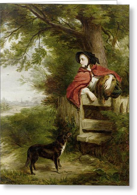 Puppies Digital Greeting Cards - A Dream Of The Future Greeting Card by William Powell Frith
