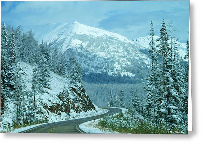 Mountain Road Greeting Cards - A Drive Through a Winter Wonderland Greeting Card by Jayme Pierce