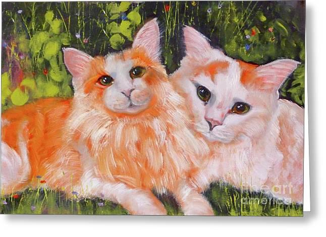 A Duet Of Kittens Greeting Card by Susan A Becker