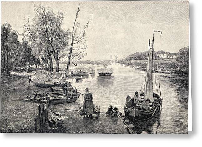 Canal Drawings Greeting Cards - A Dutch Canal, From A 19th Century Greeting Card by Ken Welsh