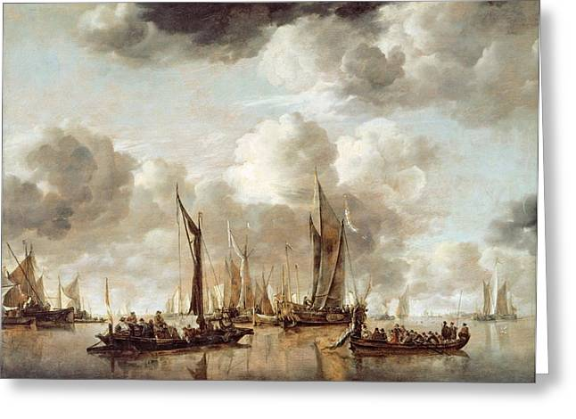 Grey Clouds Greeting Cards - A Dutch Yacht Firing a Salute as a Barge Pulls Away Greeting Card by Jan van de Capelle