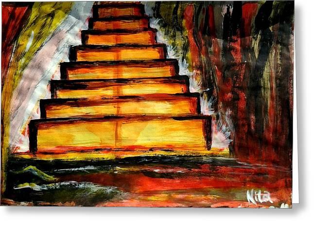 Vegetables Tapestries - Textiles Greeting Cards - A escada do milho Greeting Card by Nila  Poduschco