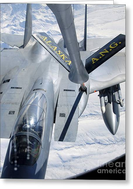 A F-15 Eagle Refuels Behind A Kc-135 Greeting Card by Stocktrek Images