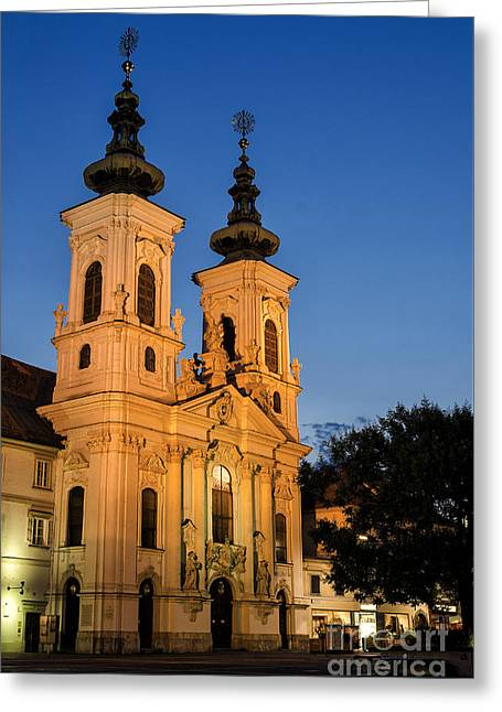 Illuminate Greeting Cards - A famous cathedral in Graz Greeting Card by Kamlesh Sethy