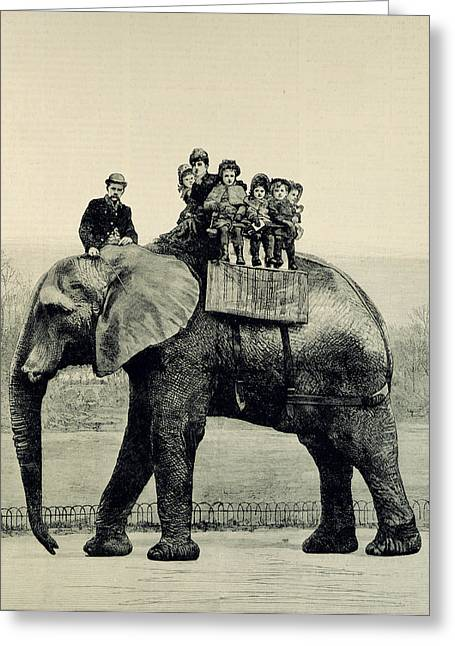 Zoological Greeting Cards - A Farewell Ride on Jumbo from The Illustrated London News Greeting Card by English School