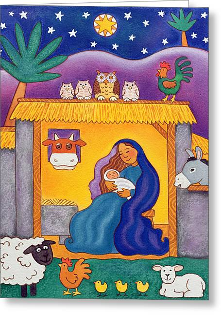 A Farmyard Nativity Greeting Card by Cathy Baxter