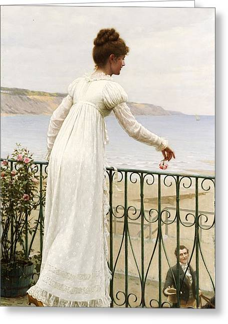 Beloved Greeting Cards - A Favour Greeting Card by Edmund Blair Leighton