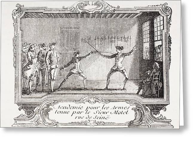 French School; (18th Century) Greeting Cards - A Fencing Academy In 18th Century Greeting Card by Vintage Design Pics
