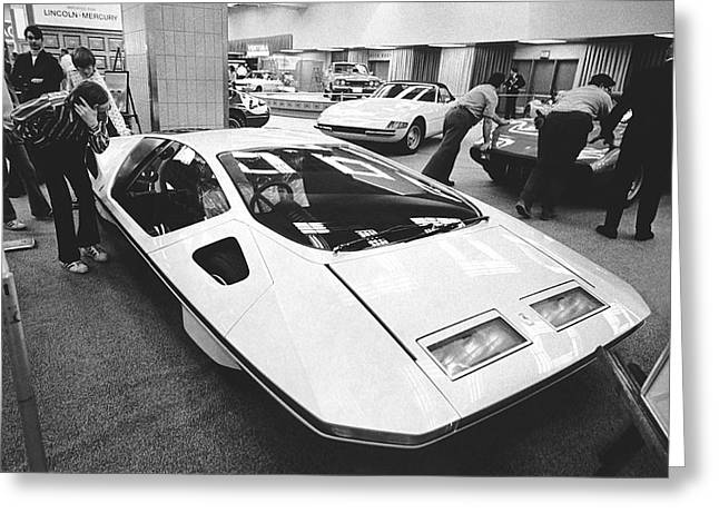 A Ferrari Modulo At Auto Show Greeting Card by Underwood Archives