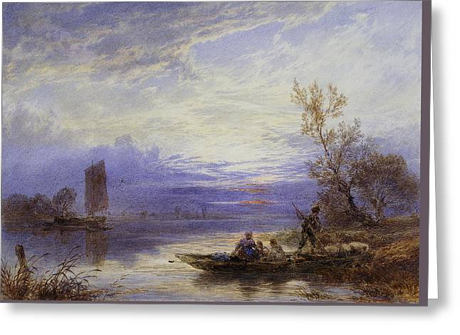 A Ferry At Sunset Greeting Card by Myles Birket Foster