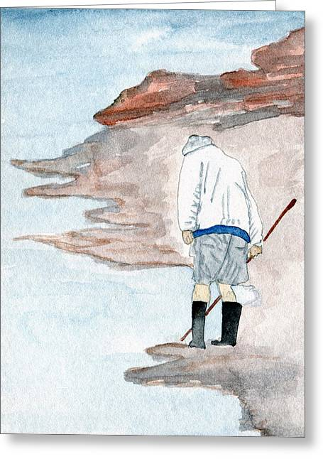 Agate Beach Paintings Greeting Cards - A Find - Agate Hunter Greeting Card by R Kyllo